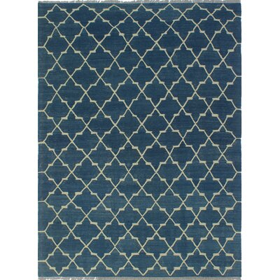 One-of-a-Kind Galen Jawad Hand-Woven Wool Blue Area Rug