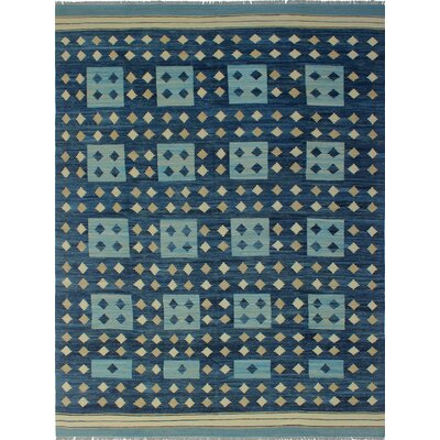 One-of-a-Kind Troy Rohailay Hand-Woven Wool Blue Area Rug