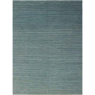Ackworth Hafiza Hand-Woven Wool Blue Area Rug