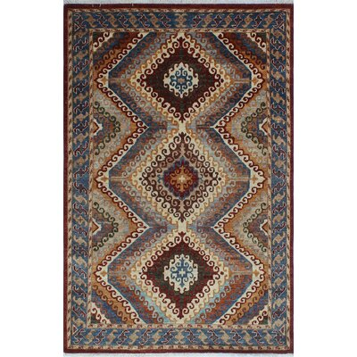 Woodmoor Guzar Hand-Knotted Wool Dark Red Area Rug