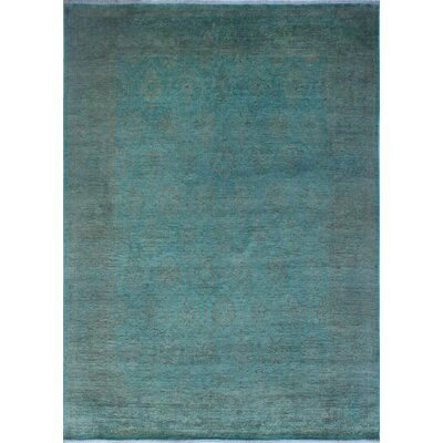 One-of-a-Kind Chaney Khalida Teal Hand-Knotted Wool Blue Area Rug