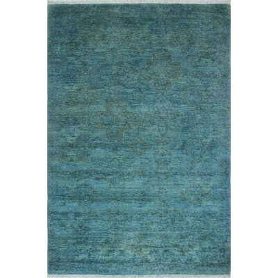 One-of-a-Kind Chaney Kaawa Teal Hand-Knotted Wool Blue Area Rug