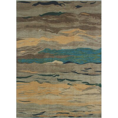 Antione Modern Tabasum Hand-Knotted Wool Brown Area Rug