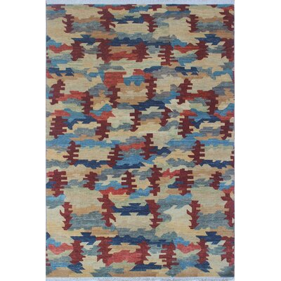 One-of-a-Kind Antione Modern Marzia Hand-Knotted Wool Beige Area Rug