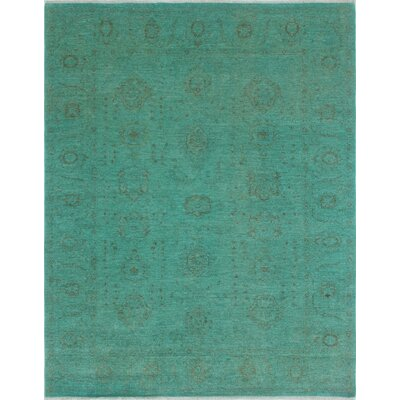 Chaney Jafaar Teal Hand-Knotted Wool Green Area Rug