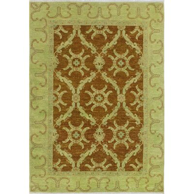 Chaney Zameer Hand-Knotted Wool Light Green Area Rug