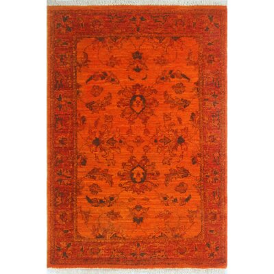 Chaney Rohna Hand-Knotted Wool Orange Area Rug