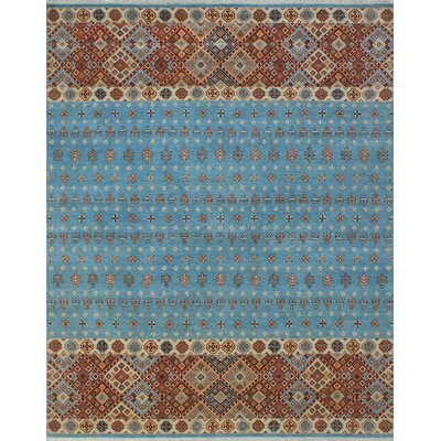 One-of-a-Kind Trevor Pazir Hand-Knotted Wool Blue Area Rug