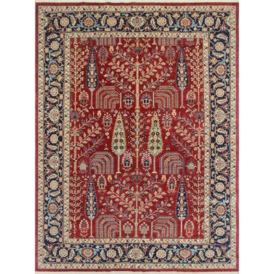Woodmoor Janan Hand-Knotted Wool Red Area Rug