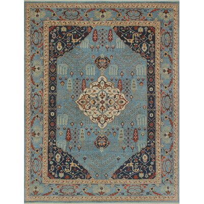 One-of-a-Kind Woodmoor Rayhana Hand-Knotted Wool Blue Area Rug