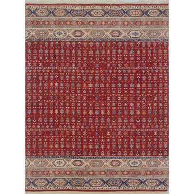 Trevor Parwaiz Hand-Knotted Wool Red Area Rug