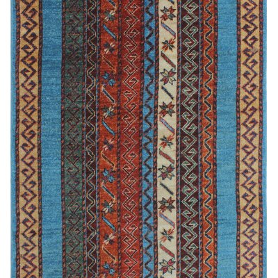 One-of-a-Kind Trevor Orzala Hand-Knotted Wool Blue Area Rug