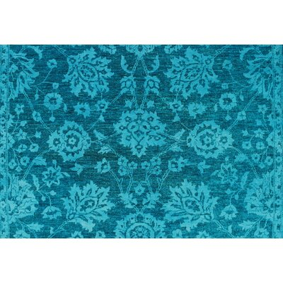 One-of-a-Kind Longoria Pazira Teal Hand-Knotted Wool/Silk Blue Area Rug