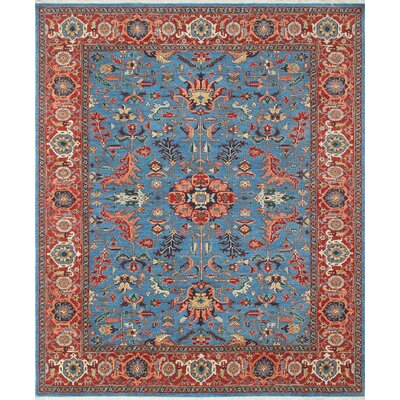 Woodmoor Amida Hand-Knotted Wool Blue/Red Area Rug