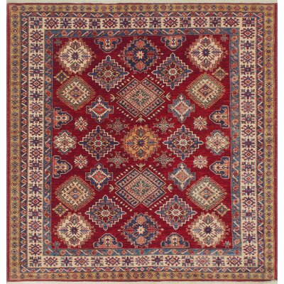 Chanell Taj Hand-Knotted Wool Red Area Rug