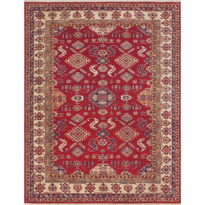 Chanell Partamin Hand-Knotted Wool Red Area Rug