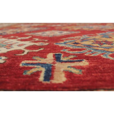 Chanell Quandi Hand-Knotted Wool Red Area Rug