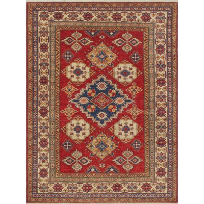 Chanell Malikzay Hand-Knotted Wool Red Area Rug