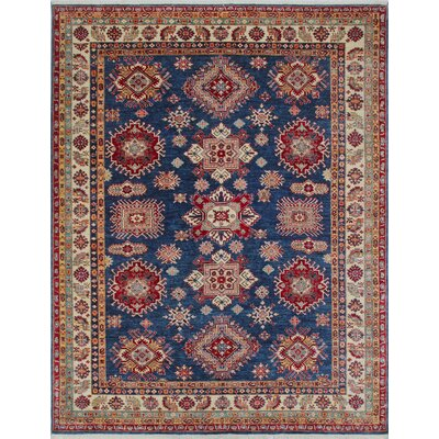 Chanell Nazifa Hand-Knotted Wool Blue Area Rug