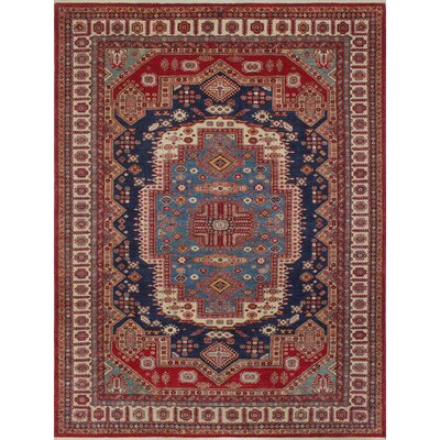 Chanell Gomal Hand-Knotted Wool Red Area Rug