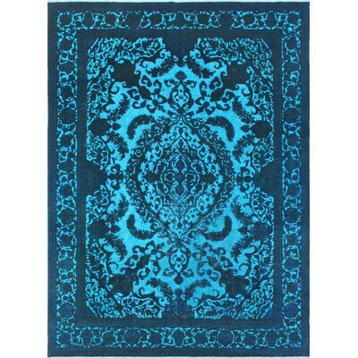 Todd Distressed Qamargull Hand-Knotted Wool Blue Area Rug