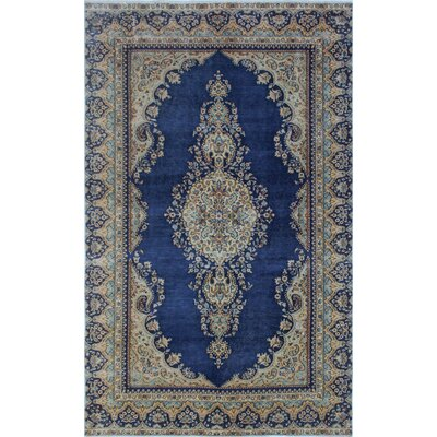 Todd Distressed Aatifa Hand-Knotted Wool Blue Area Rug