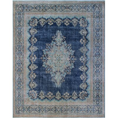 Todd Distressed Madia Hand-Knotted Wool Blue Area Rug