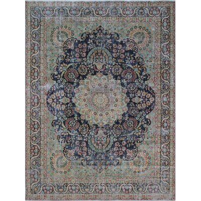 Todd Distressed Beheshta Hand-Knotted Wool Blue Area Rug