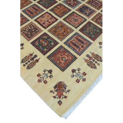 One-of-a-Kind Trevor Zia Hand-Knotted Wool Ivory Area Rug