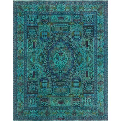 One-of-a-Kind Todd Distressed Bashir Teal Hand-Knotted Wool Blue Area Rug