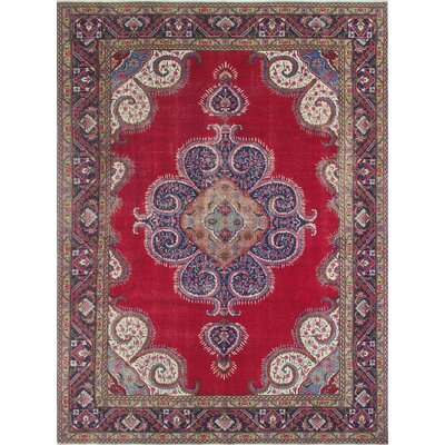 One-of-a-Kind Todd Distressed Askar Hand-Knotted Wool Red Area Rug