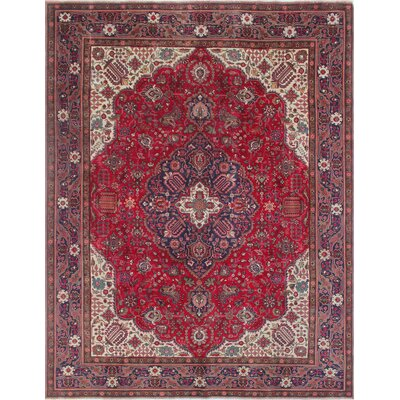 Todd Distressed Rahmatullah Hand-Knotted Wool Red Area Rug