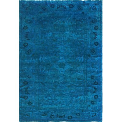 One-of-a-Kind Chaney Temor Hand-Knotted Wool Blue Area Rug