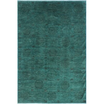 Chaney Mubarak Teal Hand-Knotted Wool Green Area Rug