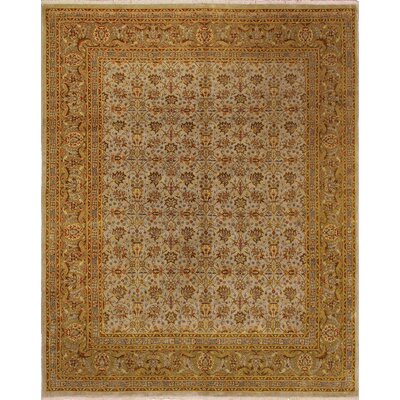 Clerkin Hand Knotted Wool Beige Area Rug