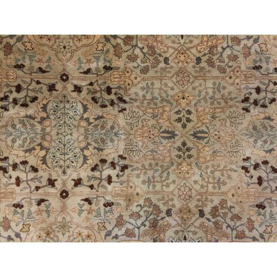 Monarch Hand Knotted Wool Beige Oriental Area Rug size: 83 H x 107 W