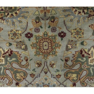 Cleasby Oriental Hand Knotted Wool Gray/Green Area Rug