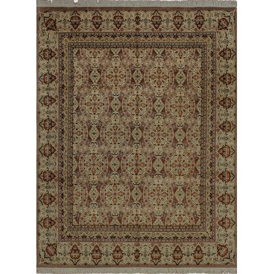 Cleasby Oriental Hand Knotted Rectangle Wool Beige Area Rug