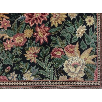 Hobel Hand Knotted Wool Black/Green/Red Area Rug