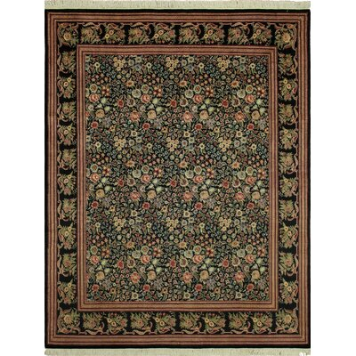 Cleasby Hand Knotted Rectangle Wool Green/Red Area Rug