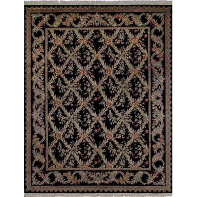 One-of-a-Kind Cecelia Hand Knotted Wool Black Area Rug