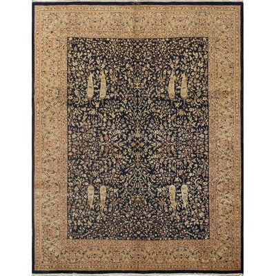 Clearman Oriental Hand Knotted Wool Blue Area Rug