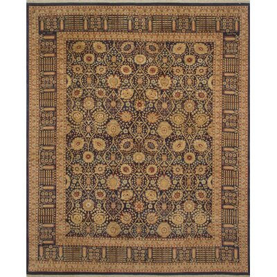 Clearman Hand Knotted Wool Blue Area Rug Size: 84 H x 102 W