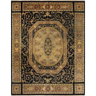 Clearman Hand Knotted Rectangle Wool Navy/Beige Area Rug