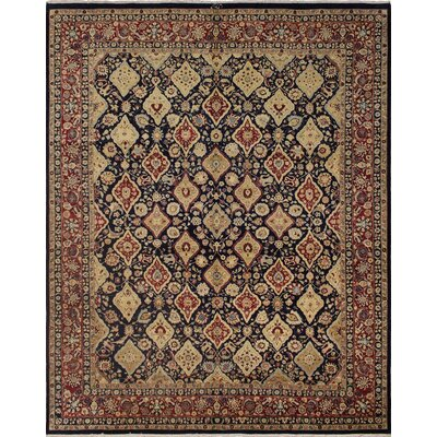 Cleasby Hand Knotted Wool Navy/Burgundy Area Rug