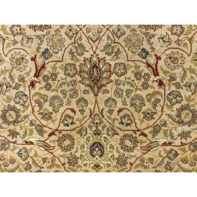Clerkin Hand Knotted Rectangle Wool Beige Area Rug