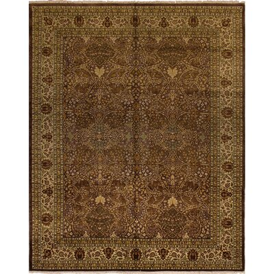 Clerkin Traditional Hand Knotted Wool Brown Area Rug