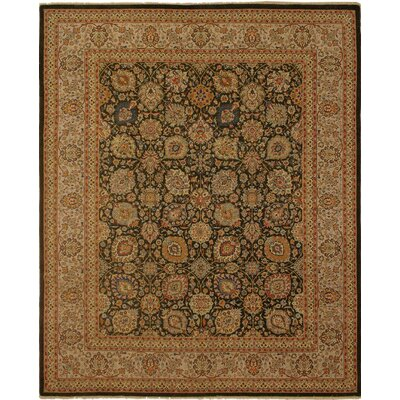 Clerkin Hand Knotted Rectangle Wool Brown/Green Area Rug
