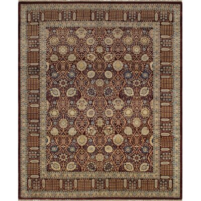 Clearman Hand Knotted Rectangle Wool Red Area Rug
