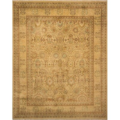 Monarch Hand Knotted Wool Gold Area Rug size: 8 H x 101 W